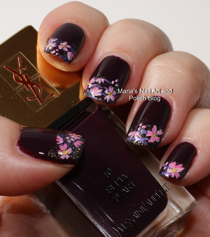 "Sepia floral nail art nail art by Maria ""Maria's Nail Art and Polish Blog"""