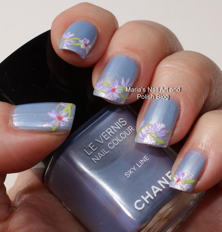 """Floral sky line nail art by Maria """"Maria's Nail Art and Polish Blog"""""""