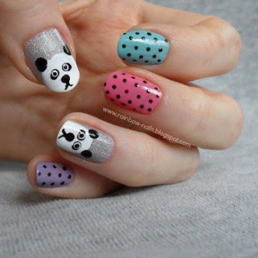 Panda nail art by Oliwia