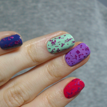 Rainbow mix nail art by Oliwia
