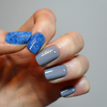 Sky&grey nail art by Oliwia