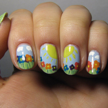 Spring !  nail art by Sky Blue Velvet Nails
