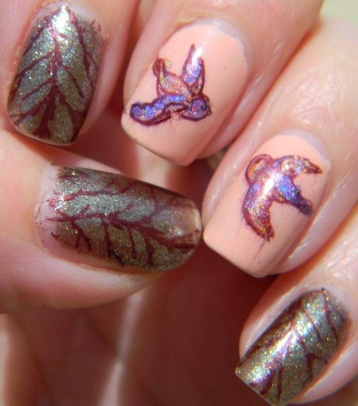Spring Sparrows nail art by Polishfreshie