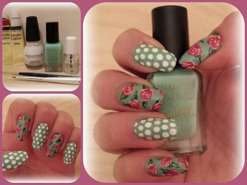 spring green roses nail art by Danielle  Hails
