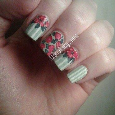 Mint Vintage Flowers nail art by Sera Knott