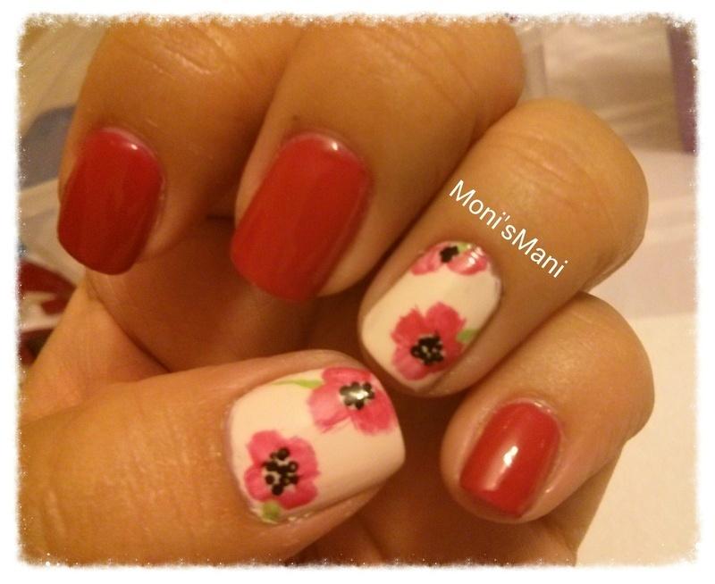 poppy flowers nail art by Moni'sMani