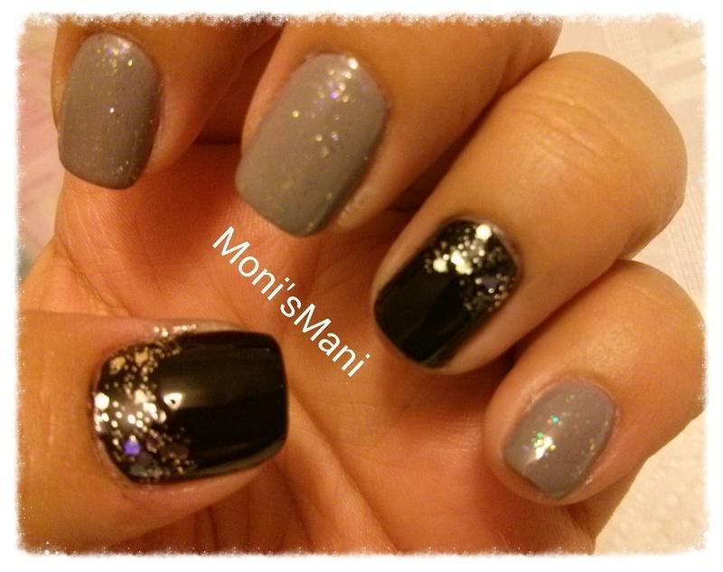 glittery gray and black nail art by Moni'sMani