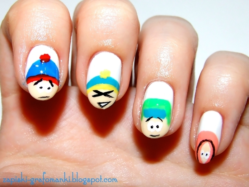 South Park nail art by Paulina Domoradzka