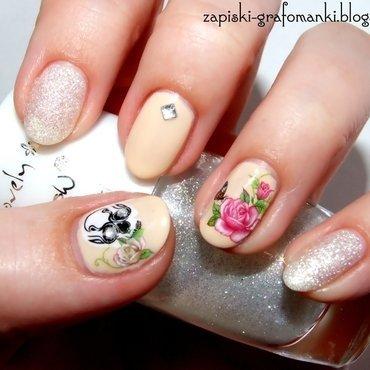 Skull&roses nail art by Paulina Domoradzka
