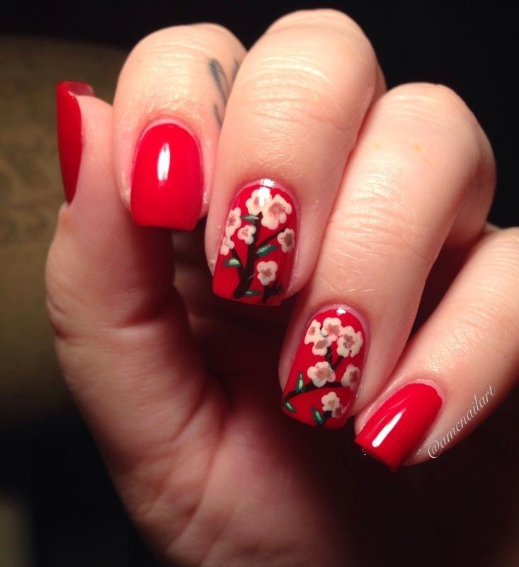 Blossoms nail art by AMC Nail Art