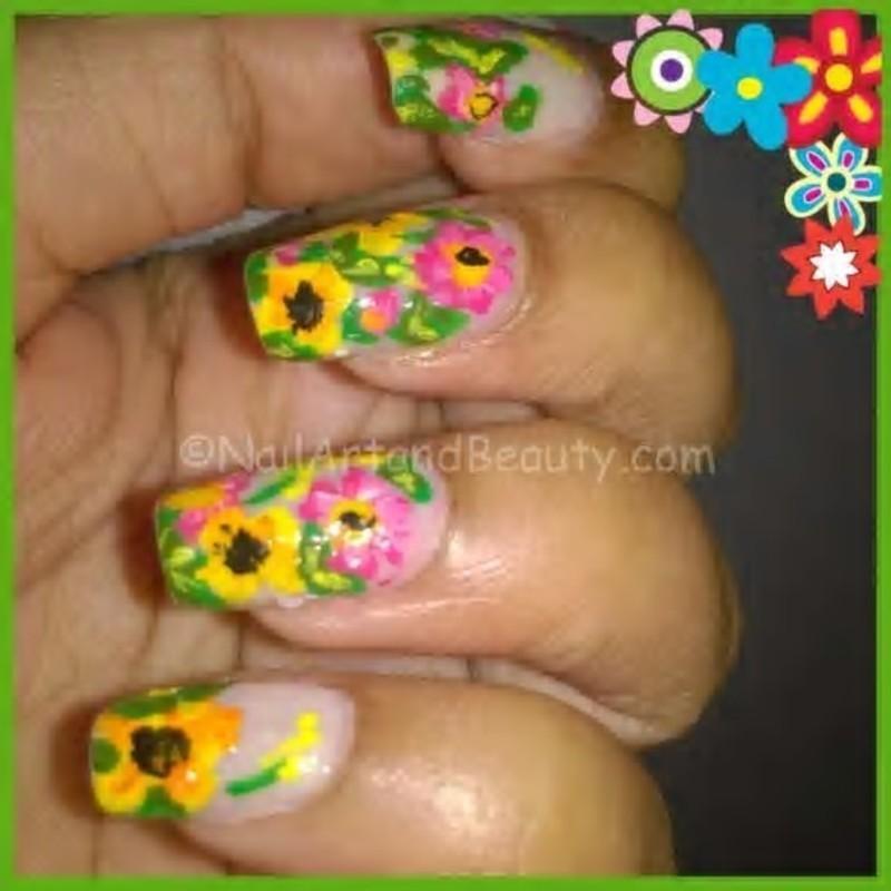 Spring Flower Nail Art nail art by Setu Rohini
