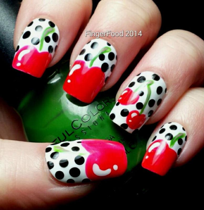 Retro Cherries nail art by Sam