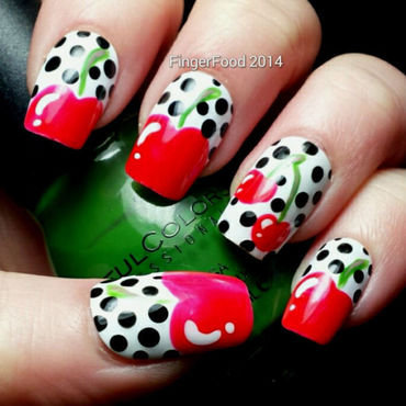 Retro Cherries nail art by Sam