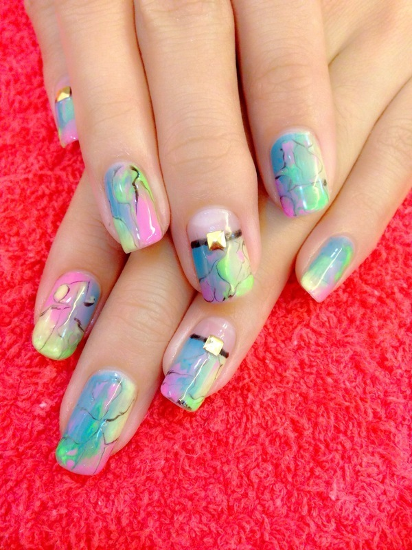 Spring Colours Fusion Cracked Marble Design Nail Art By Beautyrecipesg Nailpolis Museum Of Nail Art