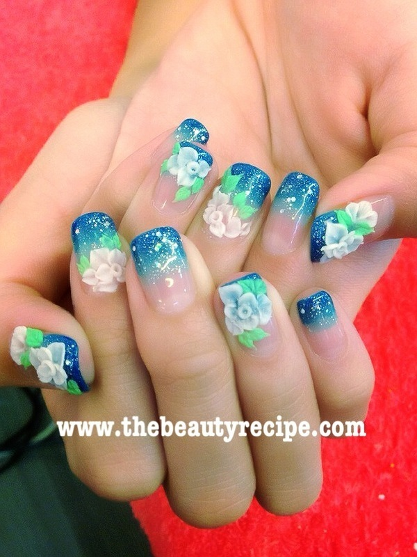 Make your flowers pop and sparkles nail art by beautyrecipesg