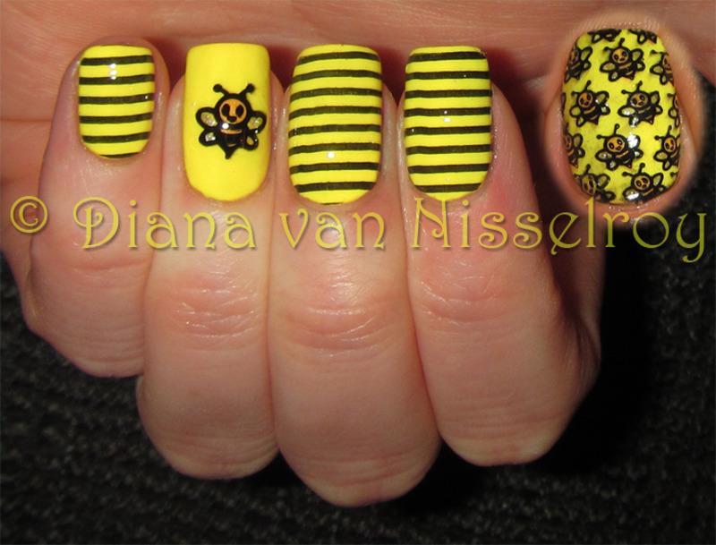 Bzzzzzz nail art by Diana van Nisselroy