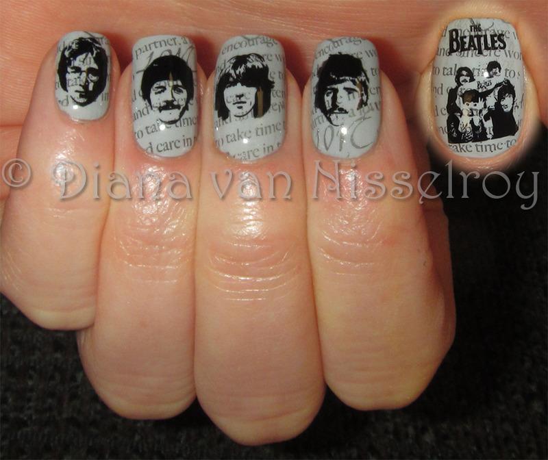 Old Beatles Newspaper nail art by Diana van Nisselroy