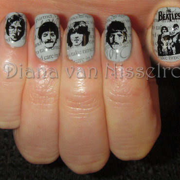 Old Beatles Newspaper nail art by Diana van Nisselroy