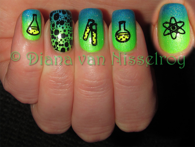 There is something brewing in the science lab nail art by Diana van Nisselroy