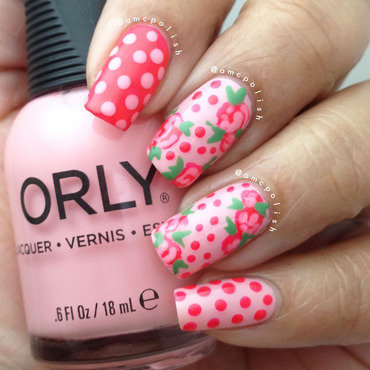 Roses and Polka Dots nail art by Amber Connor