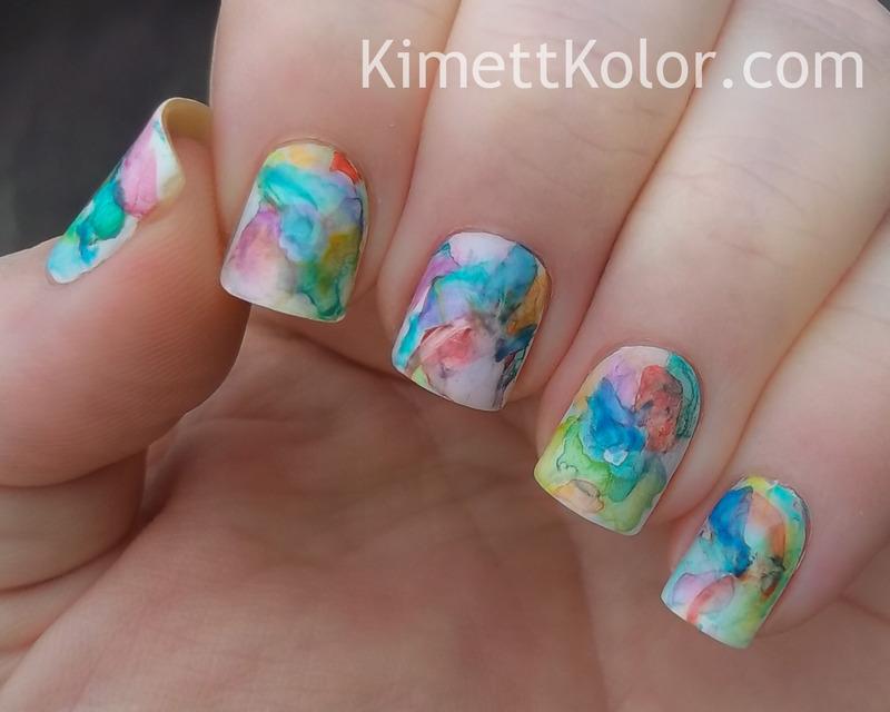 Abstract Watercolor Painting nail art by Kimett Kolor