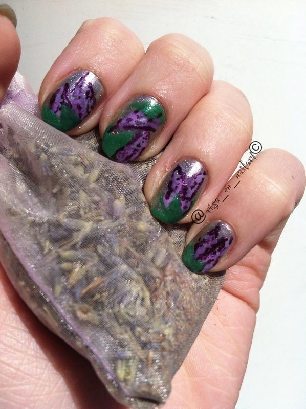 Lilacs nail art by Kayla