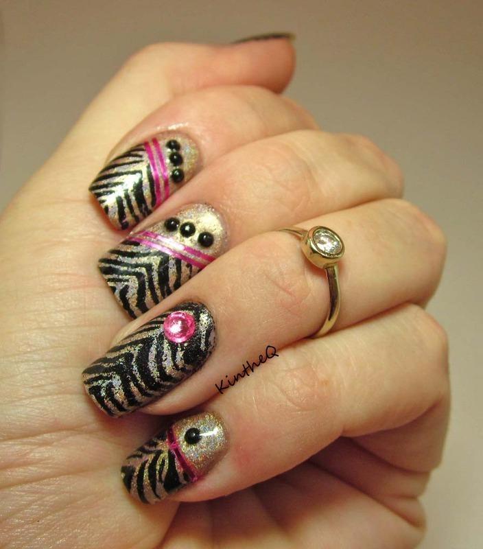 Zebra Gone Wild! nail art by Karolyn