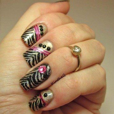 Zebra Gone Wild! nail art by Karolyn