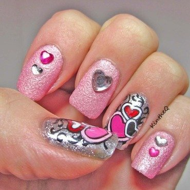 Happy Valentine's Day nail art by Karolyn