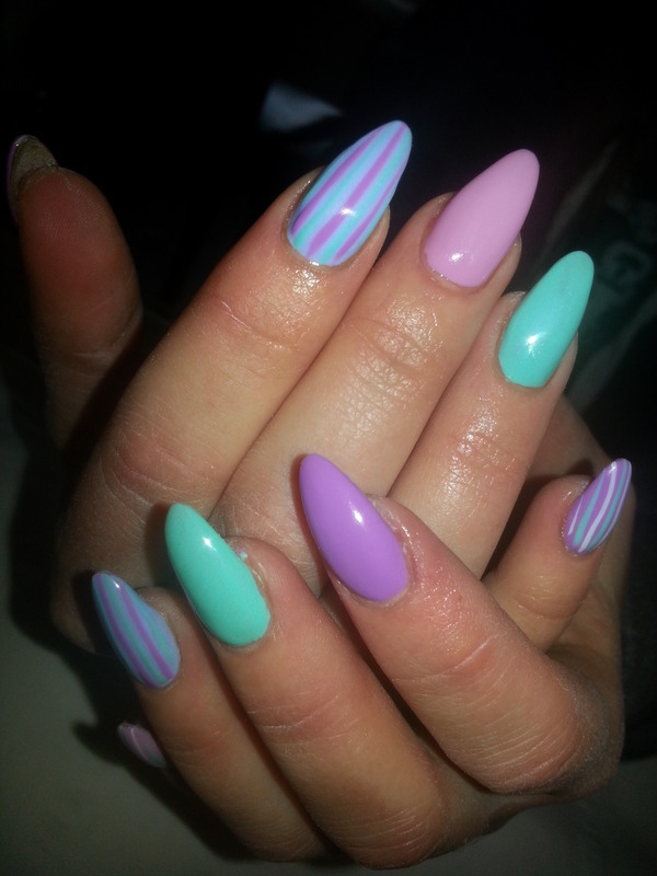 candy pastel stripe nail art by kellymarie