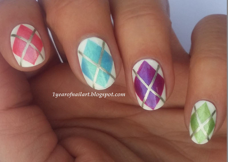 Spring Argyle nails nail art by Margriet Sijperda