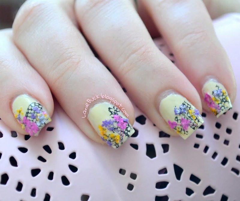 Spring Dried Flowers Manicure nail art by Lanie Buck - Nailpolis ...