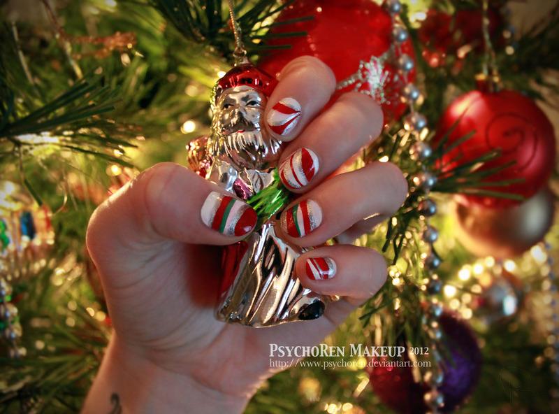 Candy Cane Swirls nail art by Renata Ralbovsky