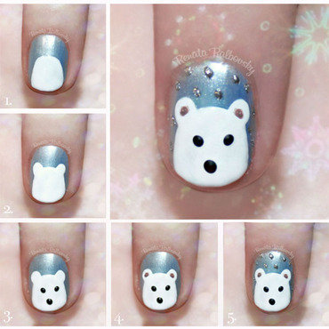 Polar Bear Pictorial nail art by Renata Ralbovsky