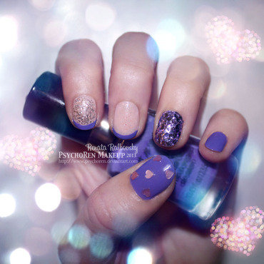 Purple Glitz  nail art by Renata Ralbovsky