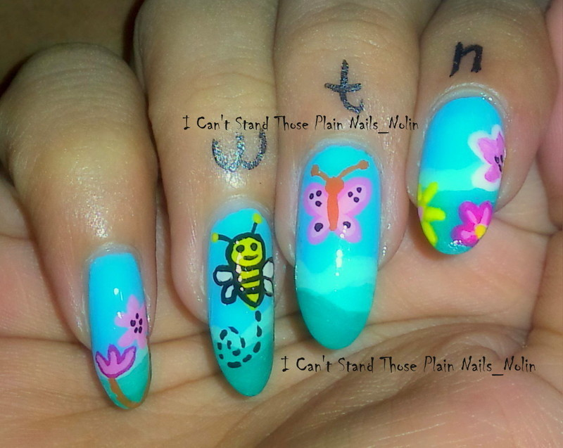 Spring Bee and Butterfly nail art by Arnolin Modokh