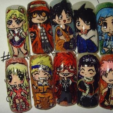 Anime glitter nail art thumb370f