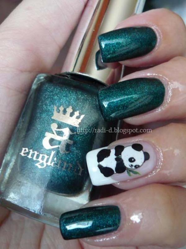 Panda nail art by Radi Dimitrova