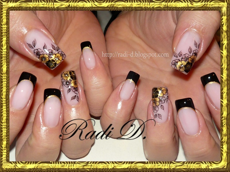 Black & Gold nail art by Radi Dimitrova