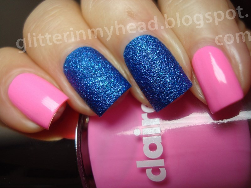 Pink cream & blue sand. nail art by The Wonderful Pinkness