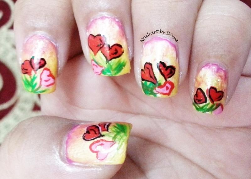 Heart Bouquet nail art by Divya Pandey