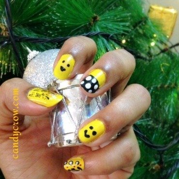Yellow smiley Nail art nail art by candycrow