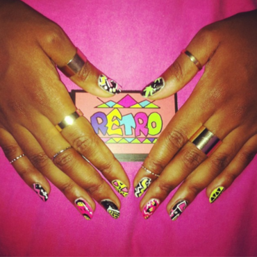 Mix 'n' match 90's inspired nail art by Retro Nails