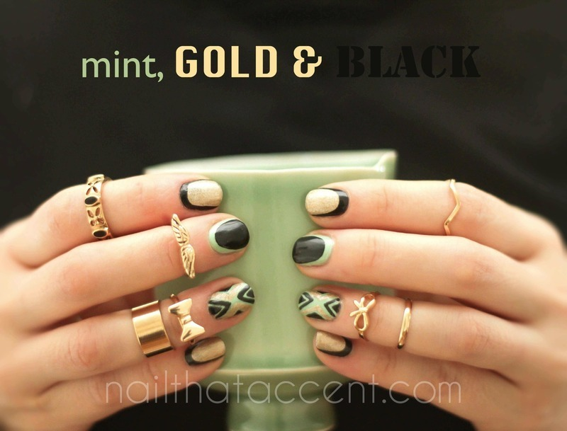 Black, gold and mint  nail art by Lindsay