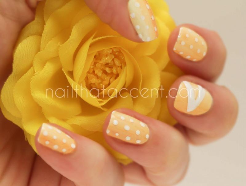 Yellow love nail art by Lindsay