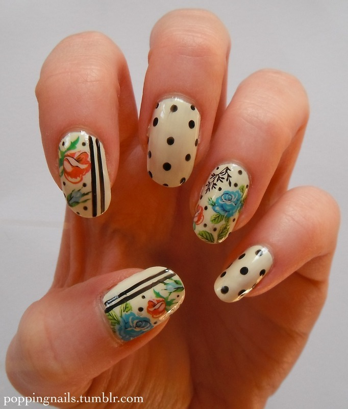 Vintage Floral & Polka Dot nail art by Charlie - Popping Nails