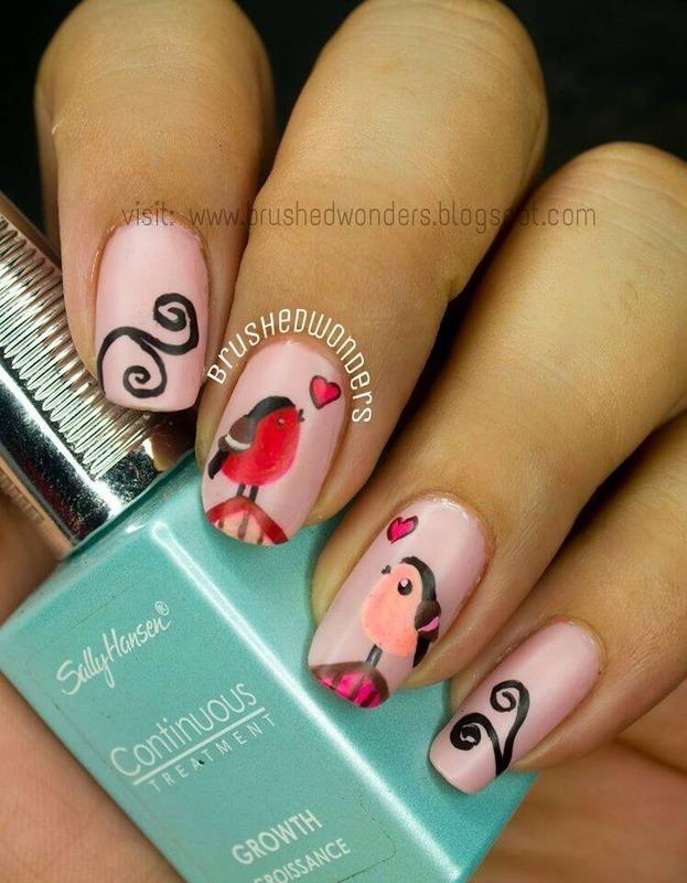Love Birds nail art by Kate