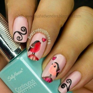 Love Birds nail art by Kate