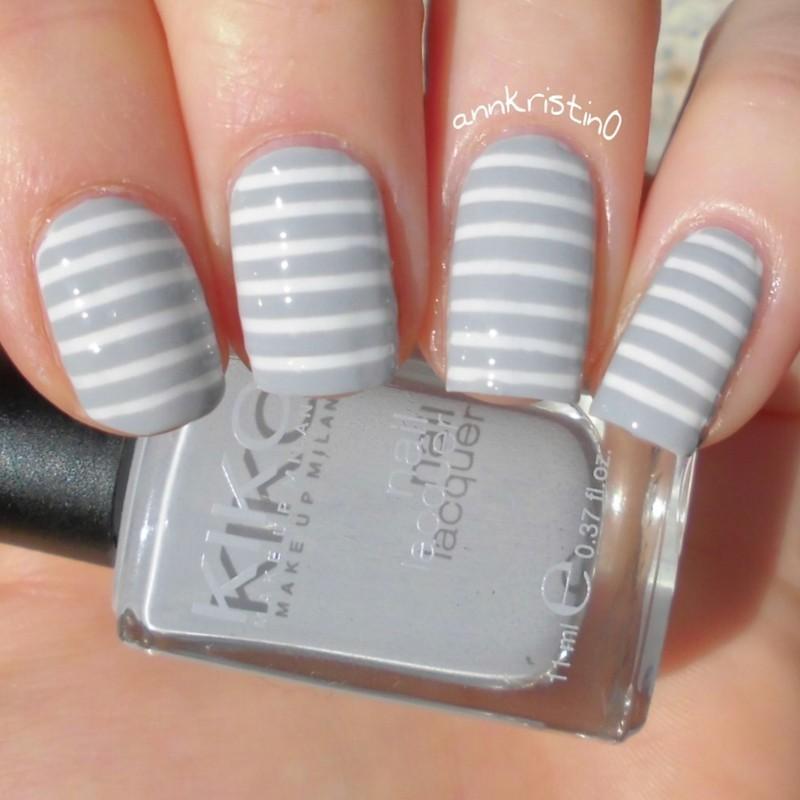 Grey Stripes nail art by Ann-Kristin