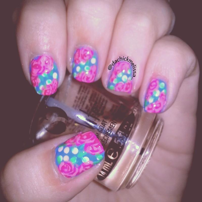 Vintage Rose Nails. nail art by Melissa